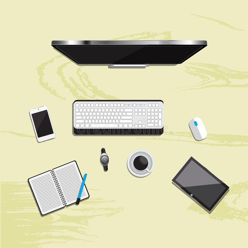 Table working business meeting high angle view. Is a general illustration royalty free illustration
