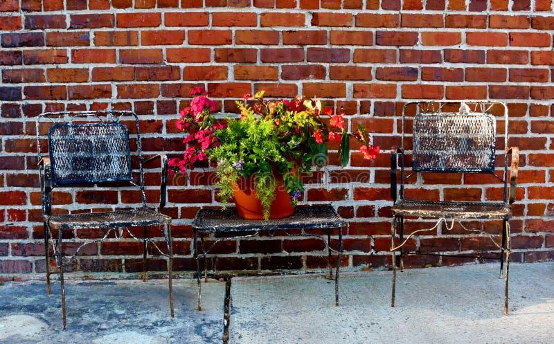 Tableau avec des fleurs sur la rue image libre de droits