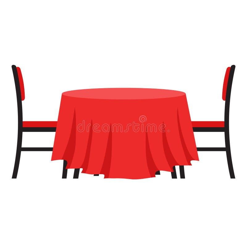 Tableau avec la chaise Dirigez la table d'illustration pour le dîner romantique de vacances de fête Style plat illustration libre de droits