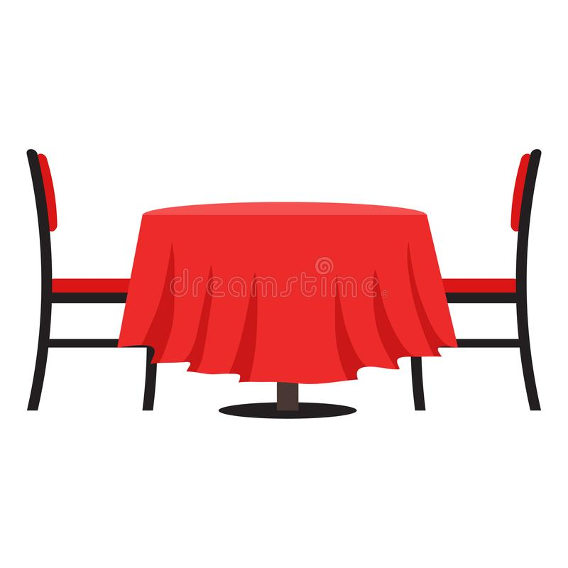 Tableau avec la chaise Dirigez la table d'illustration pour le dîner romantique de vacances de fête Style plat illustration de vecteur