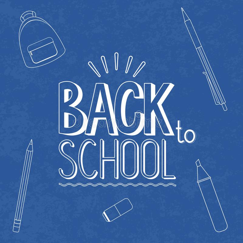 Tableau avec le signe blanc de craie - de nouveau à l'école, illustration de vecteur