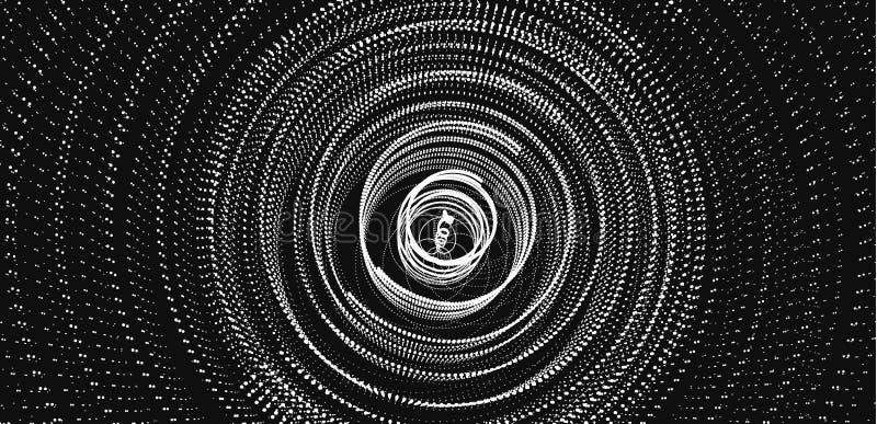 Tableau avec particules dynamiques Swirl avec points connectés Historique abstrait de la science ou de la technologie illustratio