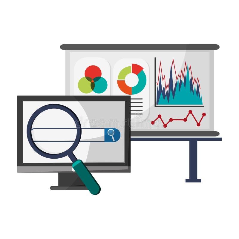 Tableau blanc et ordinateur de statistiques avec la loupe illustration de vecteur