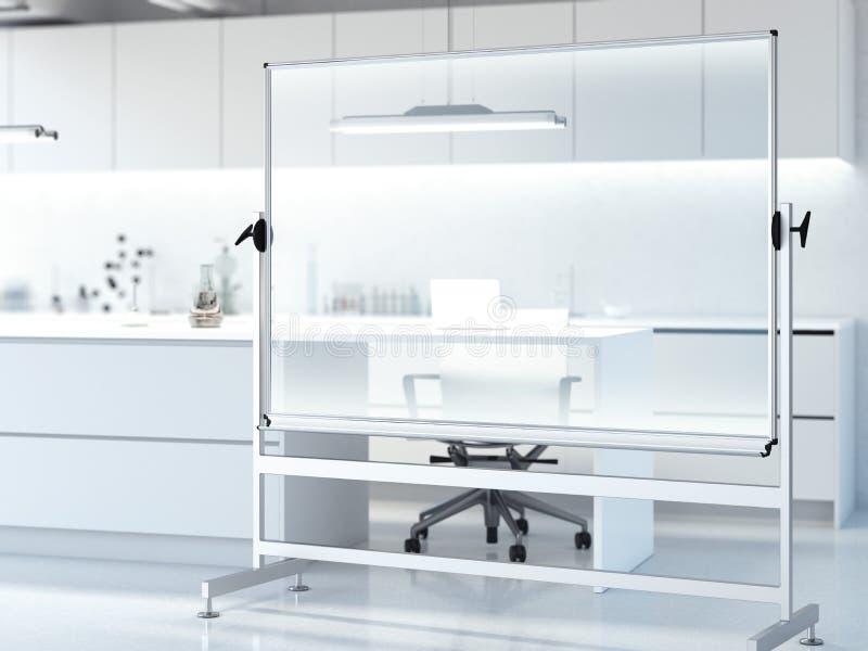 Tableau blanc transparent dans le laboratoire propre moderne rendu 3d illustration de vecteur