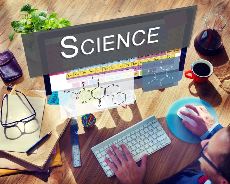 Tableau chimique de la Science de recherches d'expérience de liaison des éléments C photo stock