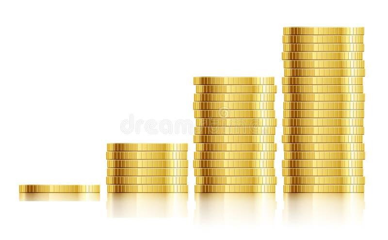 Tableau commercial avec de l'argent d'or de pièces de monnaie illustration de vecteur