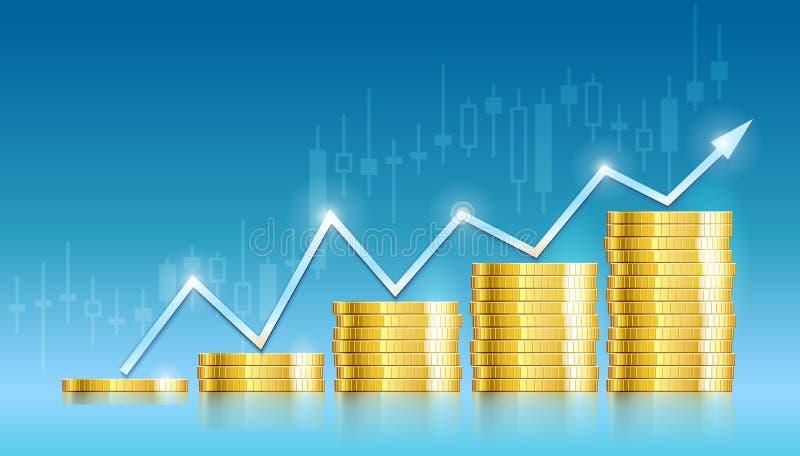 Tableau commercial avec de l'argent d'or de pièces de monnaie illustration libre de droits