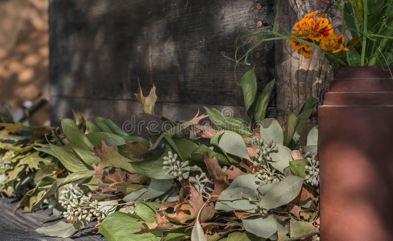 Tableau décoratif extérieur rustique et intime photo stock