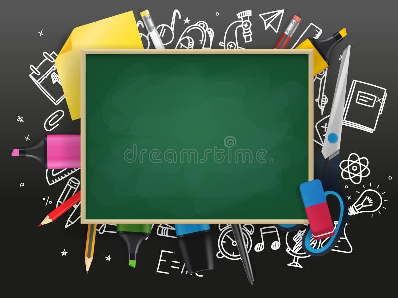 Tableau d'école avec la substance d'éducation illustration libre de droits