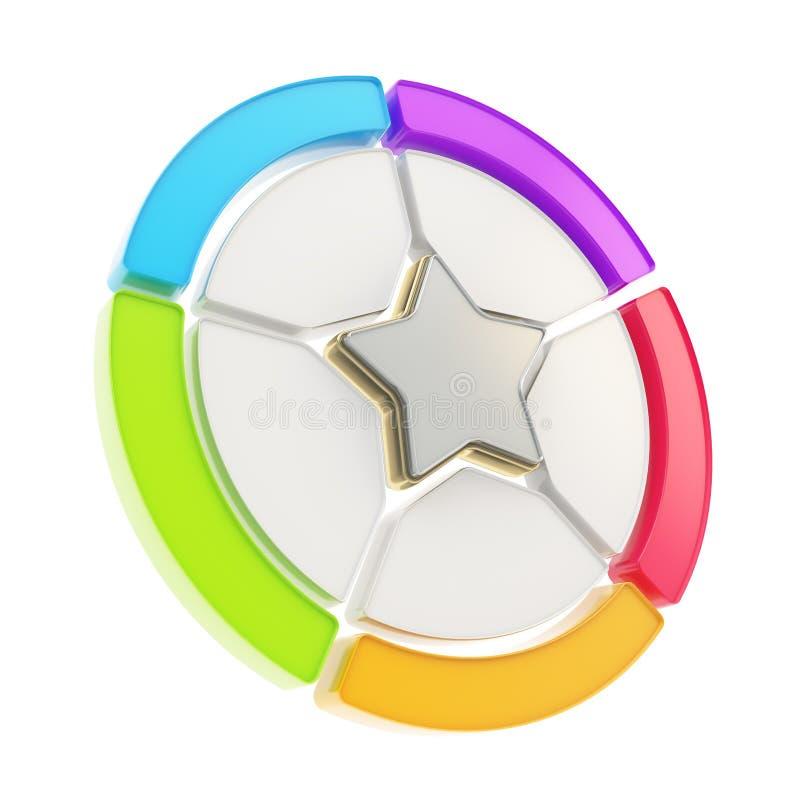 Tableau d'emblème d'étoile de cinq secteurs d'isolement illustration de vecteur