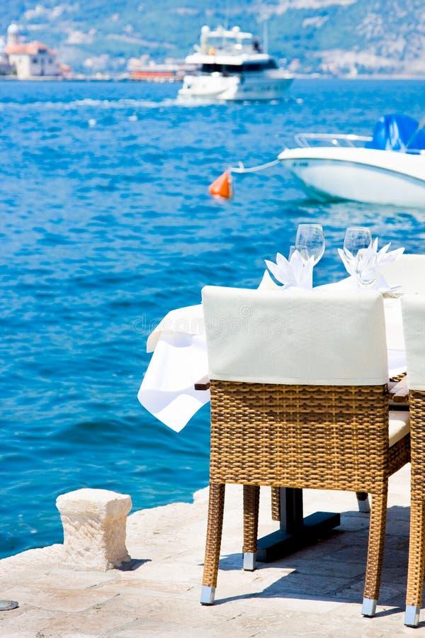 Tableau dans le restaurant sur le fond de mer, Perast image libre de droits