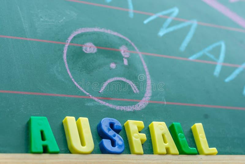 Tableau dans une école au sujet d'échec de classe avec le mot allemand pour l'échec photo libre de droits