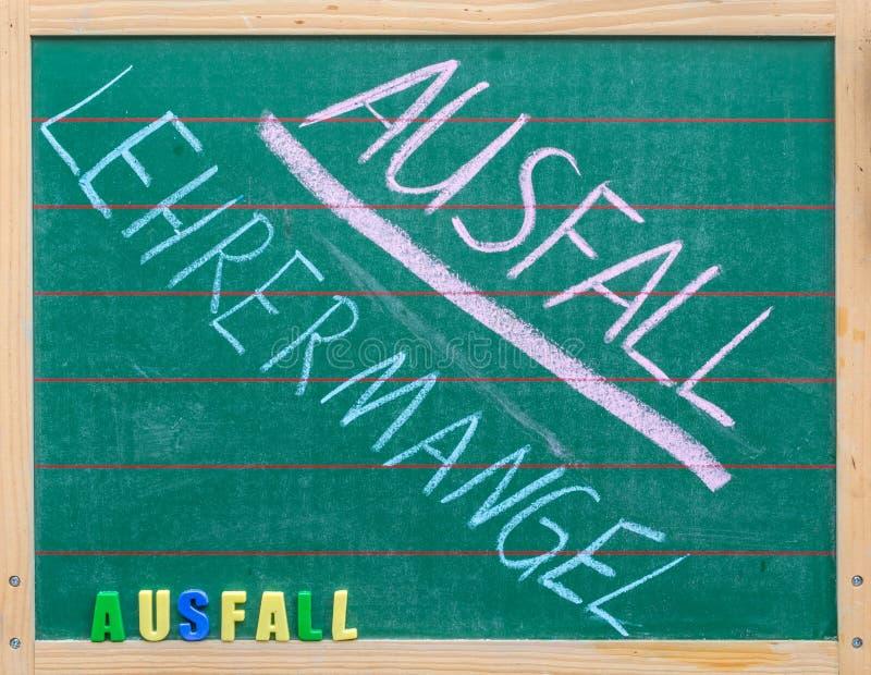 Tableau dans une école sur le sujet de l'échec de classe avec les mots allemands pour l'échec dû au manque de professeurs images libres de droits
