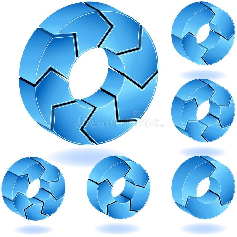 tableau de bleus de 3D Chevron illustration de vecteur