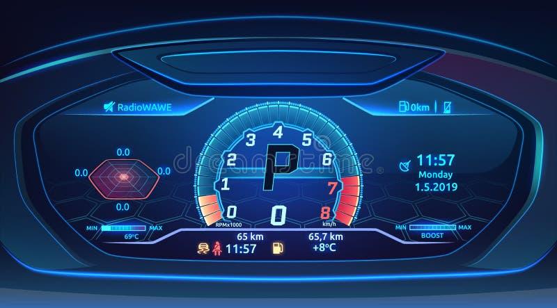 Tableau de bord au néon de supercar de voiture de sport avec le tachymètre, conception moderne de panneau de commande d'automobil illustration stock