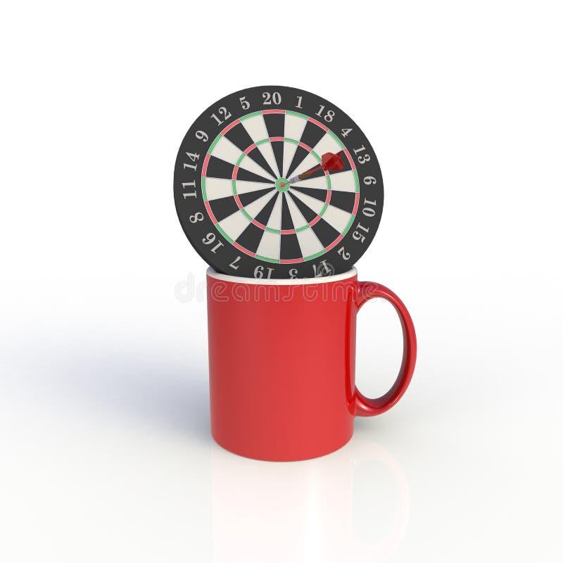 Tableau de bord avec tasse de café rouge isolé sur fond blanc Modèle de validation pour la conception d'application Équipement d' illustration libre de droits