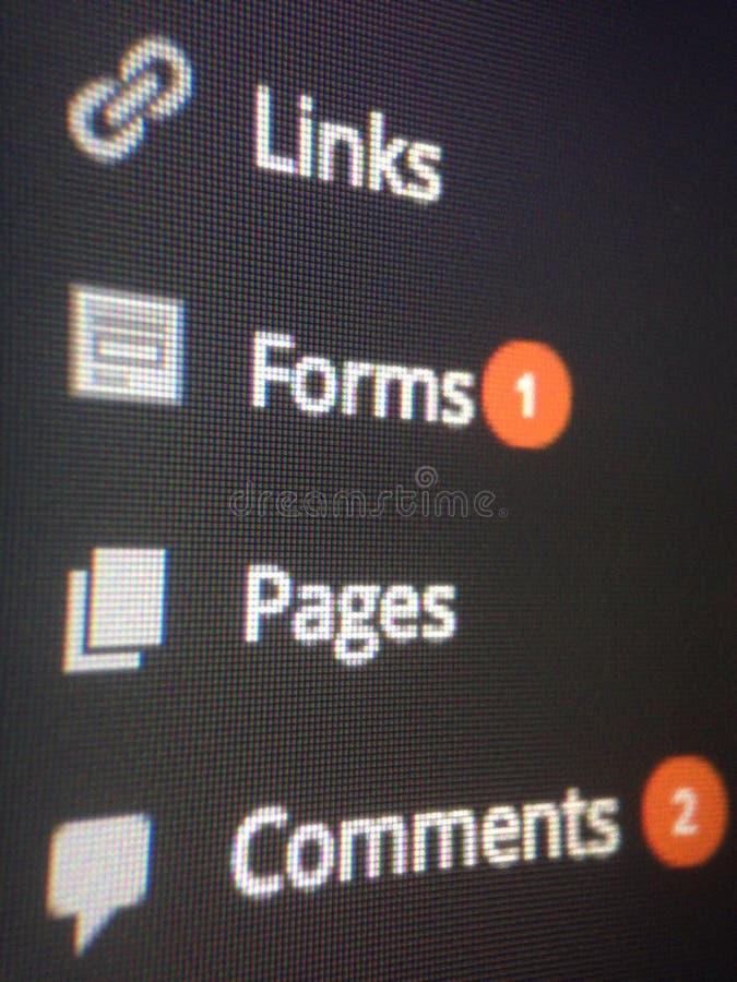 Tableau de bord de Wordpress images libres de droits