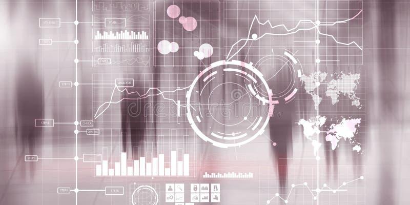Tableau de bord et diagrammes d'intelligence d'interface d'affichage Indicateurs de jeu clé financiers illustration stock
