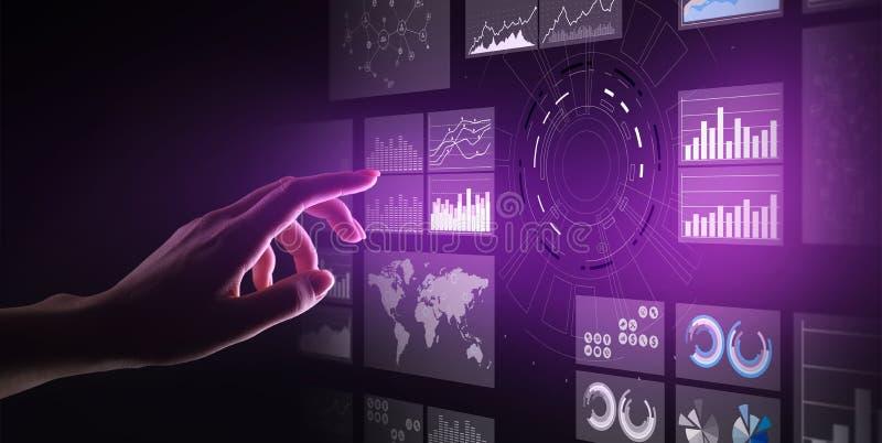 Tableau de bord de la veille commerciale d'écran virtuel, analytics et grand concept de technologie de données image libre de droits