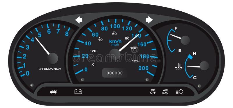 Tableau de bord noir et bleu de voiture illustration stock
