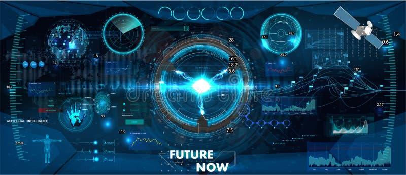 Tableau de bord de panneau de commande de vaisseau spatial dans le style de HUD illustration libre de droits
