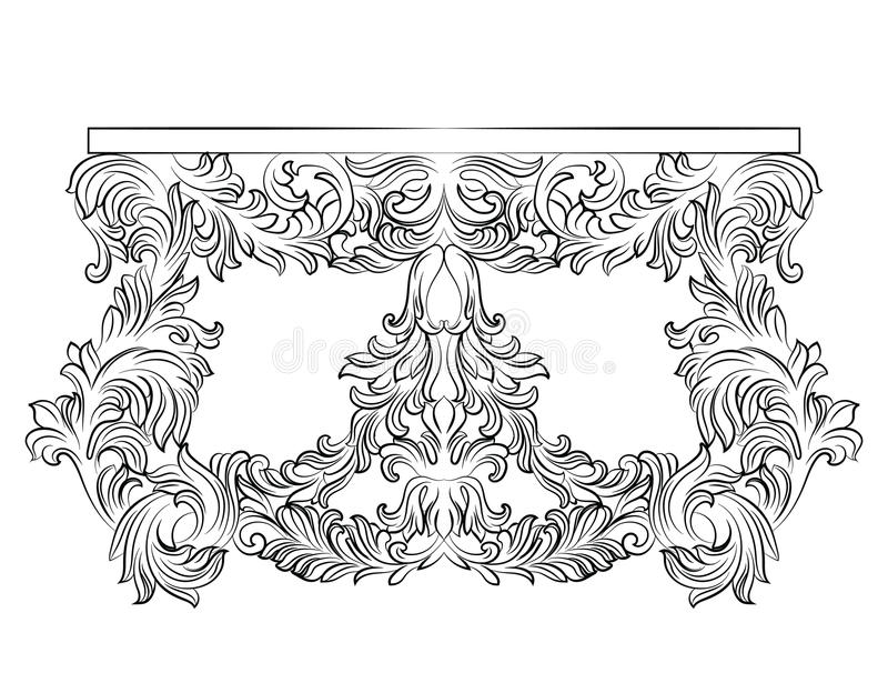 Tableau de commode de Rich Baroque avec des tiroirs illustration de vecteur