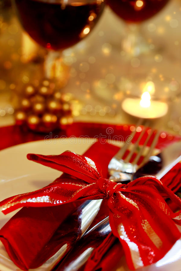 Tableau de dîner décoré de Noël photographie stock