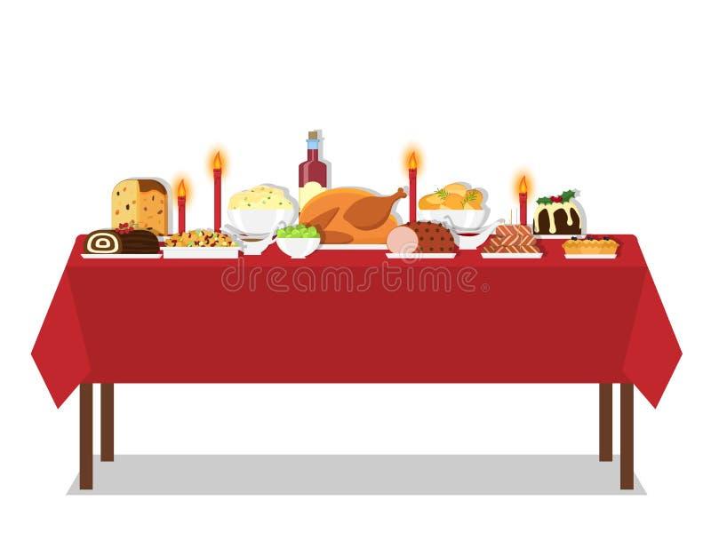 Tableau de dîner de vacances illustration stock