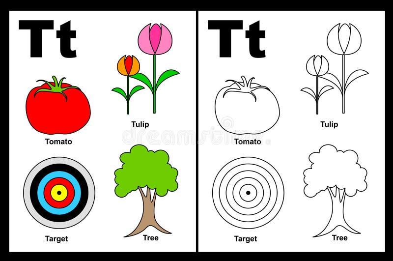 Tableau de la lettre T illustration de vecteur