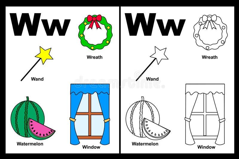 Tableau de la lettre W illustration stock