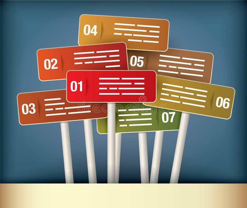 Tableau de présentation de poteaux indicateurs illustration libre de droits