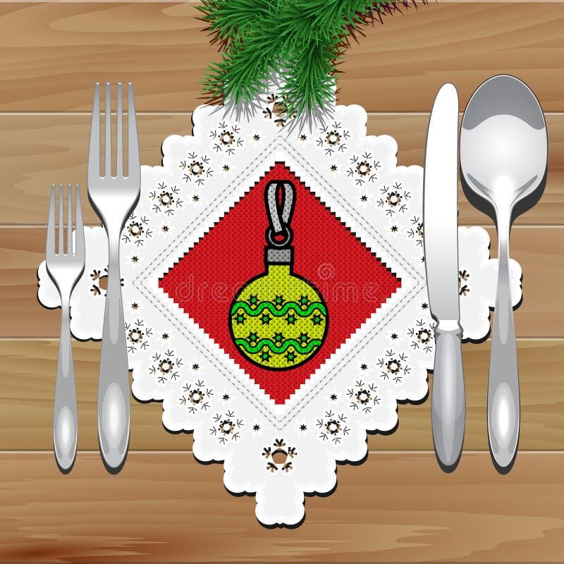 Download Tableau De Serviette De Noël Illustration de Vecteur - Illustration du dîner, bille: 45350045