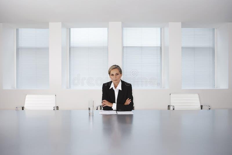 Tableau de Sitting At Conference de femme d'affaires photographie stock