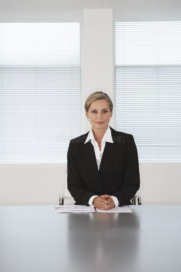 Tableau de Sitting At Conference de femme d'affaires photo libre de droits