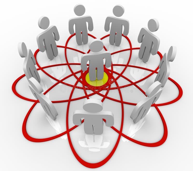 Tableau de Venn beaucoup de gens une personne au centre illustration de vecteur
