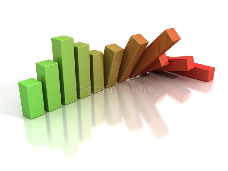 Tableau en baisse de diagramme à barres d'affaires de crise illustration stock