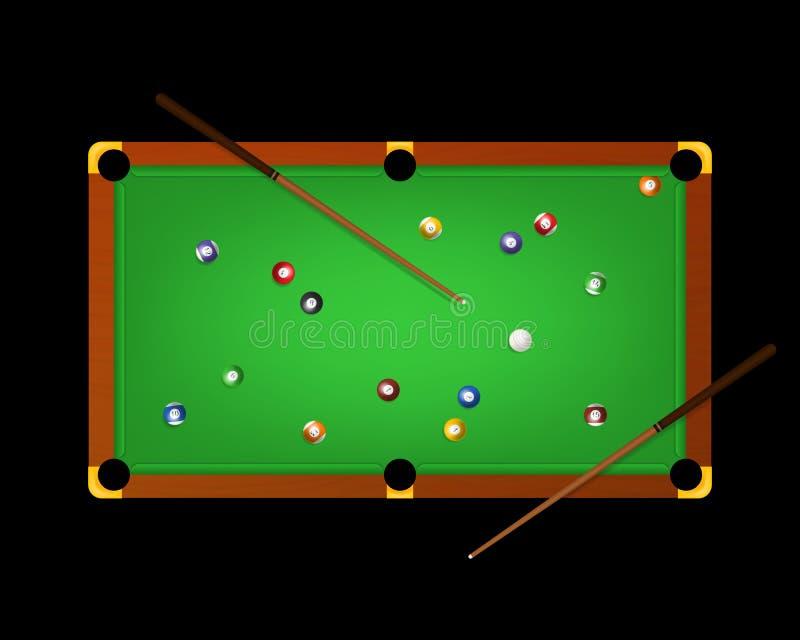 Tableau et équipements de vert détaillés réalistes de billard de la piscine 3d sur une obscurité Vecteur illustration stock