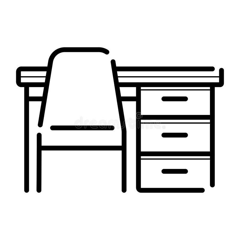 Tableau et chaise, icône de bureau illustration libre de droits