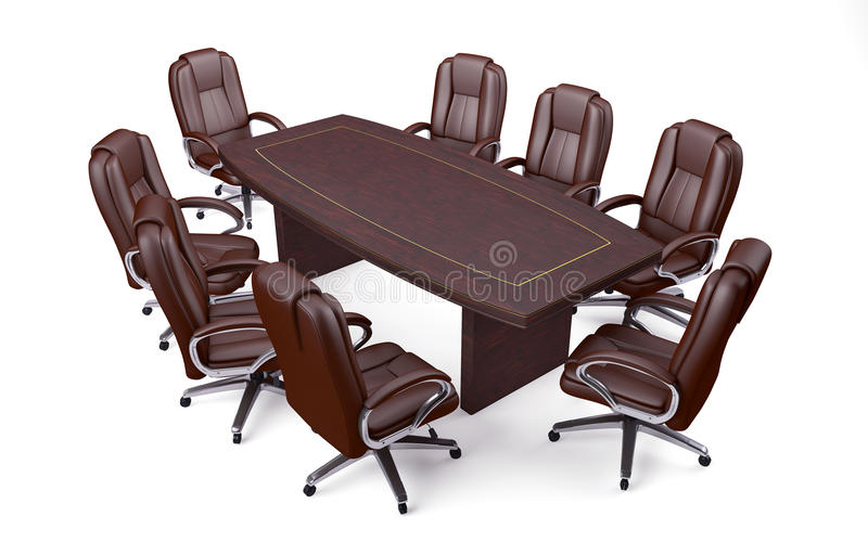Tableau et chaises de conférence de bureau de salle de réunion illustration libre de droits