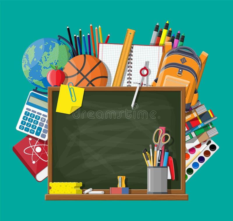 Tableau et fournitures scolaires verts illustration libre de droits