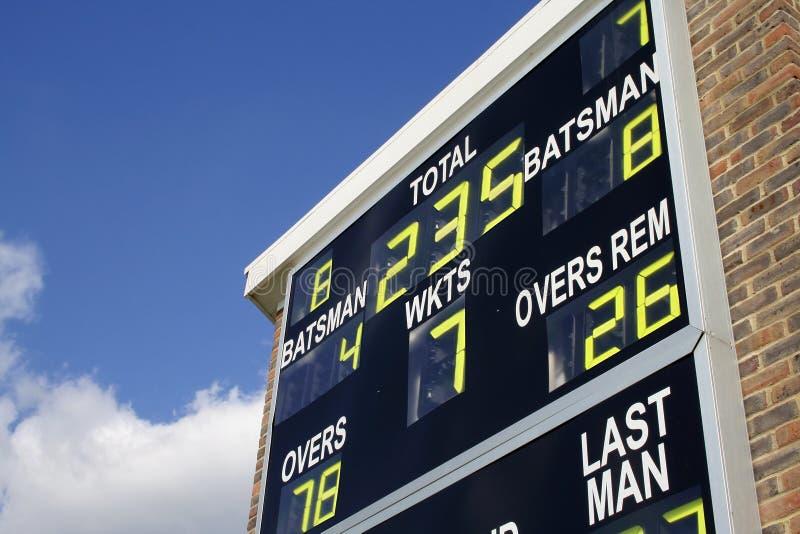 Tableau indicateur de cricket photographie stock libre de droits