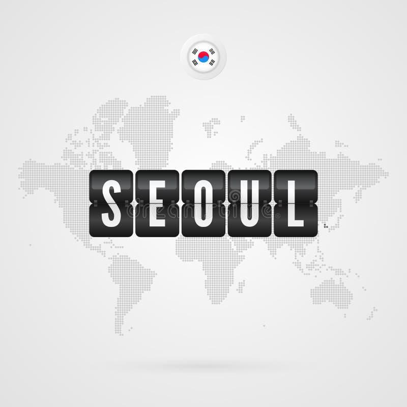 Tableau indicateur de Séoul Icône de drapeau de la Corée du Sud Symbole infographic de carte du monde de vecteur Signe global int illustration libre de droits