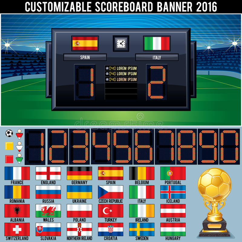 Tableau indicateur personnalisable du football illustration libre de droits