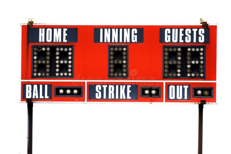Tableau indicateur rouge de base-ball pour le jeu avec le ciel images libres de droits