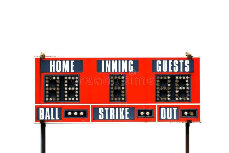 Tableau indicateur rouge de base-ball pour le jeu avec le ciel photographie stock libre de droits
