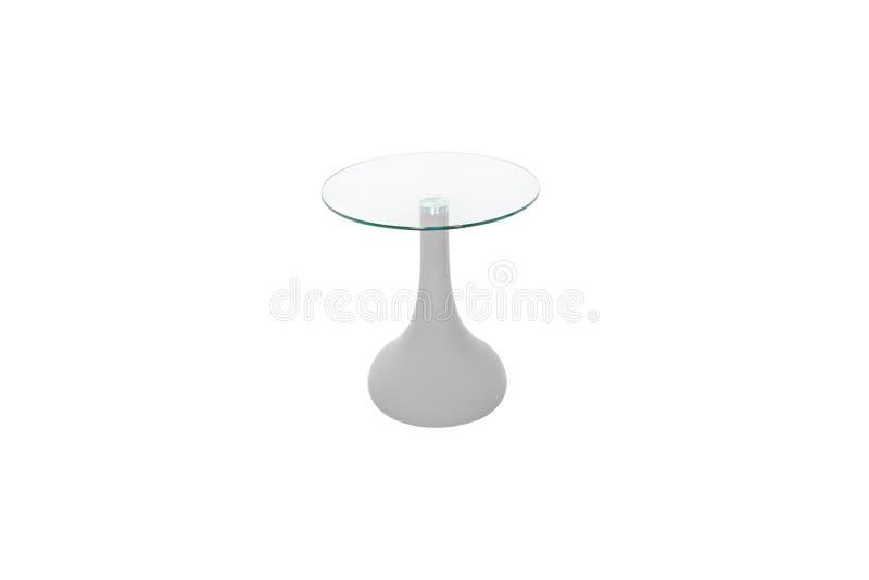 Tableau moderne en verre et en bois sur le fond blanc images stock