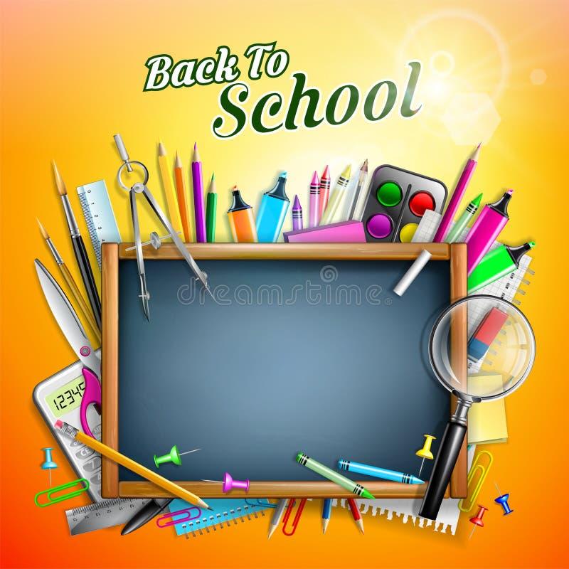Tableau noir avec des fournitures scolaires illustration stock