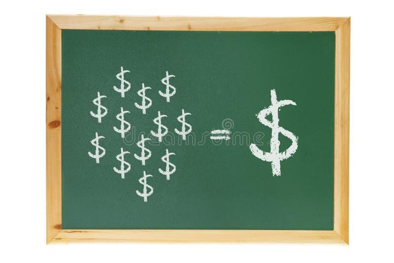 Tableau noir avec des signes du dollar photo stock