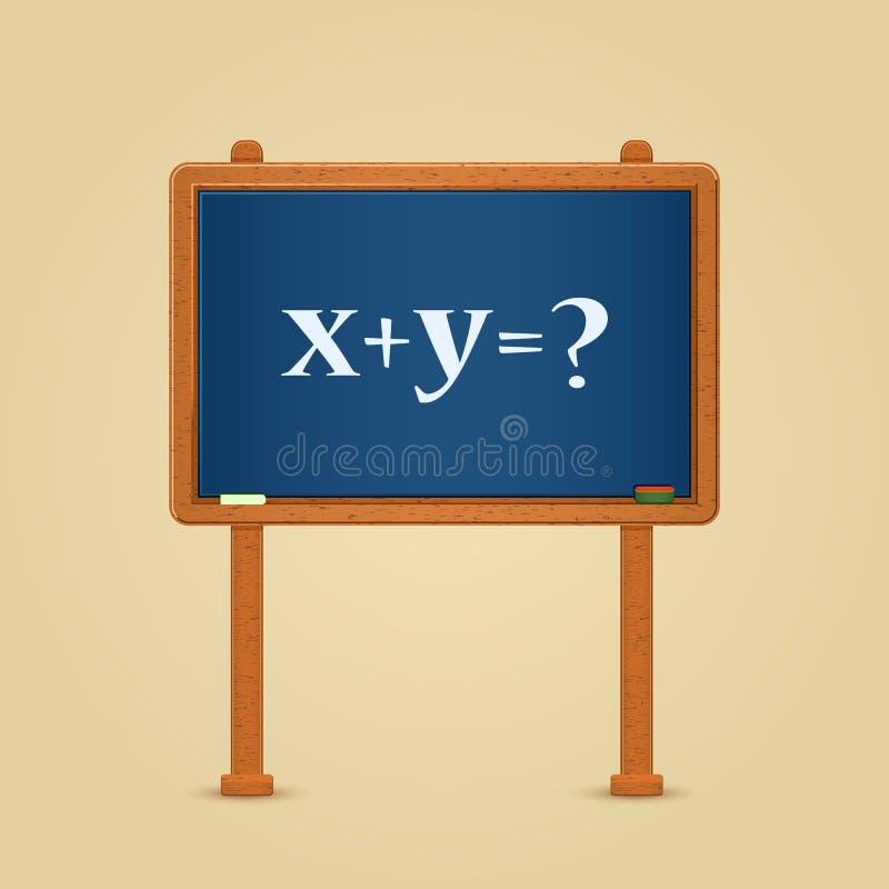 Tableau noir avec l'équation et la question de maths illustration stock
