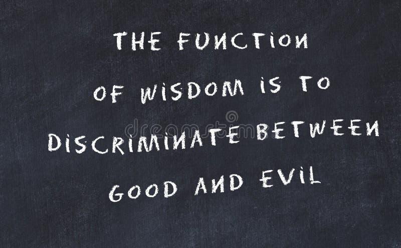 Tableau noir avec la citation de motivation sage manuscrite illustration libre de droits